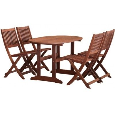 Kerti garnitúra fából, ovális asztallal